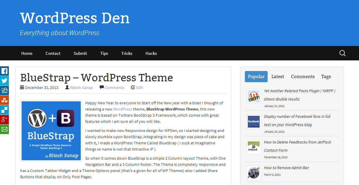 BlueStrap WordPress Theme