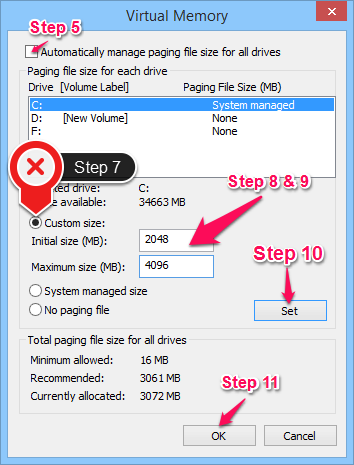 Increase Virtual Memory in Windows 8