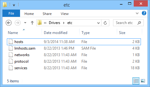 Location of hosts file in Windows 8
