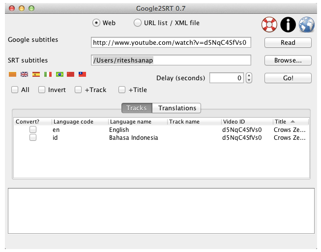 Select the language of the Subtitle to download and press Go
